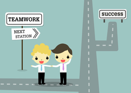 two point: teamwork of two businessman stand at guide post  teamwork and next station point to success.