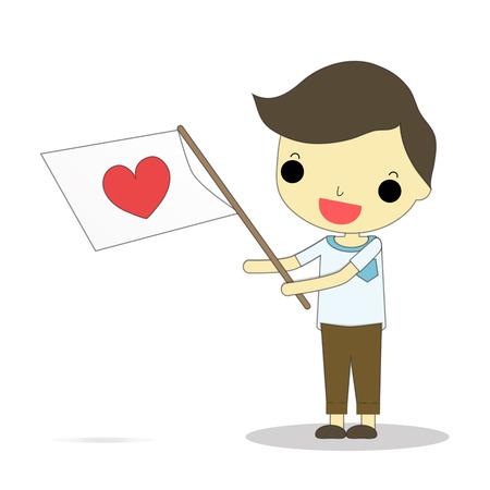 handsom: handsom boyl carry heart symbol flag on his hand . Illustration