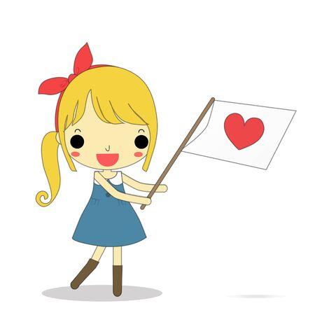 lovely girl: encantadora chica lleve coraz�n s�mbolo de la bandera en la mano.