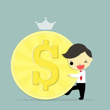 salary man: businessman with happy emotion hug big dollar on blue background.