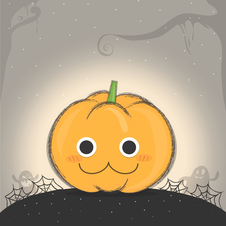 night background: lovely pumpkin with web and ghost on mid night background.