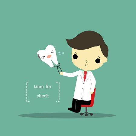 text tool: man in dentist suit who sit and carry tool and decayed tooth with text  time for check on blue background. Illustration