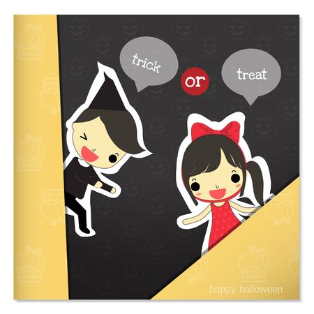 hide: girl and boy hide behind piece of paper say  trick or treat  on pumpkin background.