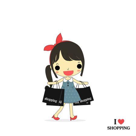 素敵な女性は、幸せな感情を彼女の手でいっぱい買い物袋を運ぶ。