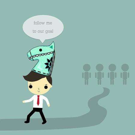 ビジネスマンで言うリーダーの摩耗の馬の帽子を私に」続く我々 の目標には青の背景に彼の後ろに従属。