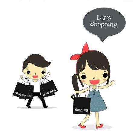 ショッピングを楽しんで、彼の手でいっぱいの袋を運ぶ「レッツ ショッピング」幸せな感情と言うと男と女は疲れでしょう。  イラスト・ベクター素材