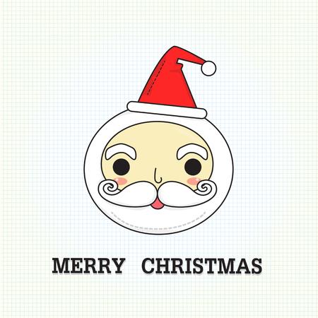 サンタ クロースの smlie 顔と本文紙の背景に「メリー クリスマス」。