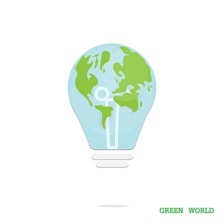 テキスト「緑の世界」白い背景の上の世界のランプ。