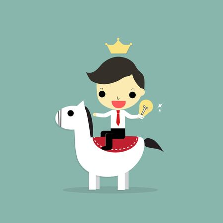 アイデアのランプを保持する馬に乗るビジネスマン、陶器クラウン リーダー。  イラスト・ベクター素材