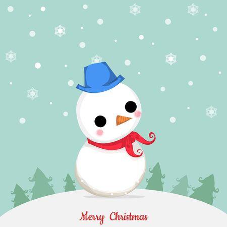 Muñeco de nieve de pie en la nieve alrededor con el árbol y el copo de nieve en el día de Navidad. Foto de archivo - 47616635
