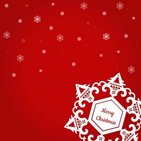 クリスマスの日に雪で雪の結晶の周りにメリーのクリスマス テキスト。  イラスト・ベクター素材