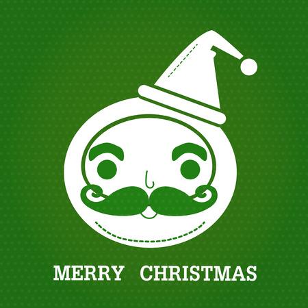 サンタ クロースの smlie 顔とテキスト緑のドットの背景に「メリー クリスマス」の白い色は。