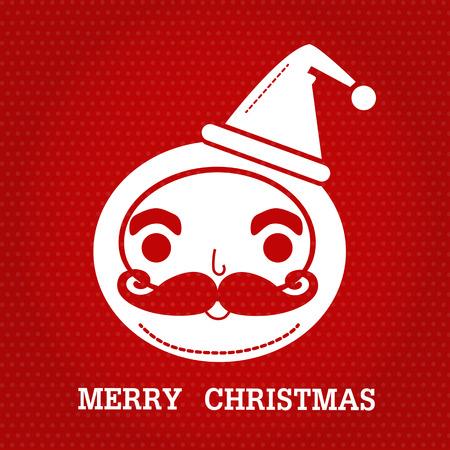 サンタ クロース smlie 顔とテキスト「メリー クリスマス」赤いドットの背景に白い色。