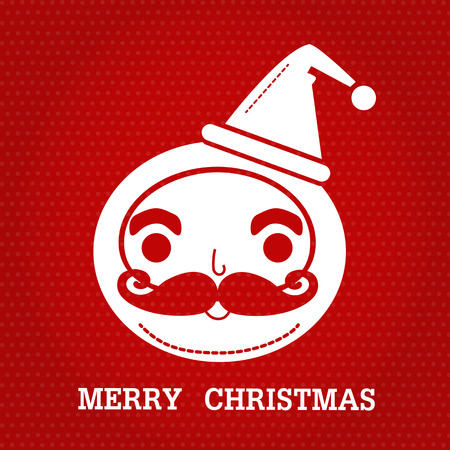 merry chrismas: white color of santa claus smlie face and text merry christmas on red dot  background.