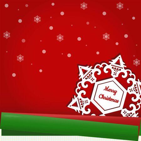赤、緑、青のラインの紙の上の雪で雪の結晶の周りにメリーのクリスマス テキスト。