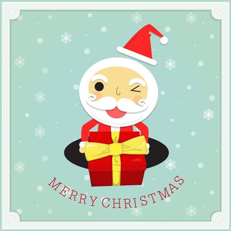 サンタ クロースは、雪の結晶の背景と白のフレームに笑顔で贈り物を開催します。