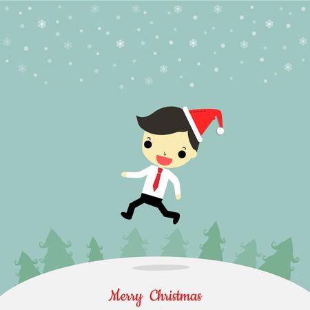 クリスマスの日にツリーと雪の結晶の周り幸せな感情とジャンプ サンタ帽子を身に着けているビジネスマン。