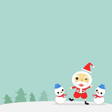 サンタと雪だるまクリスマスの日にツリーの周りに雪のスタンドします。