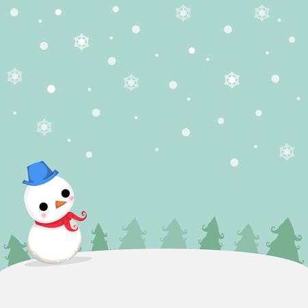 クリスマスの日にツリーと雪の結晶を雪で雪だるま立っています。