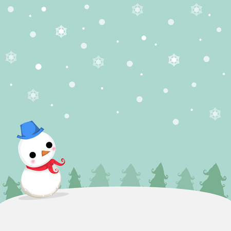 trees illustration: snowman stand on snow around with tree and snowflake at christmas day.