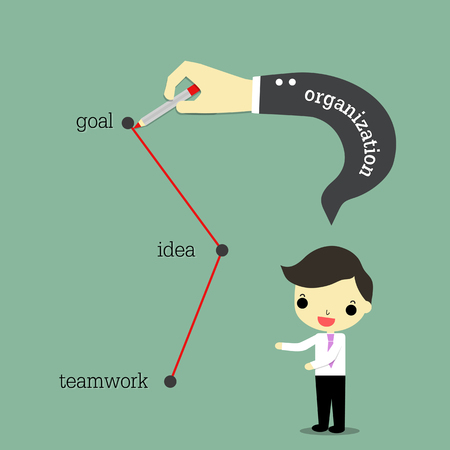 create idea: businessman speaking , organization hand draw path of success is teamwork to create idea for go to goal.