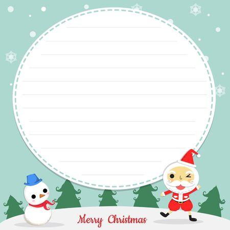 サンタ クロースと雪だるま背景、カードの中心に紙としてクリスマスの日にツリーと雪の結晶を雪に立ちます。  イラスト・ベクター素材