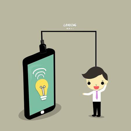 アイデアをロード スマート フォンと実業家のアイデアのランプ。
