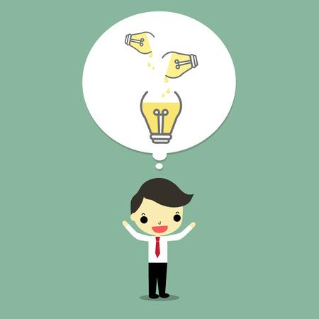 思考のビジネスマン、彼の頭の上の電球。