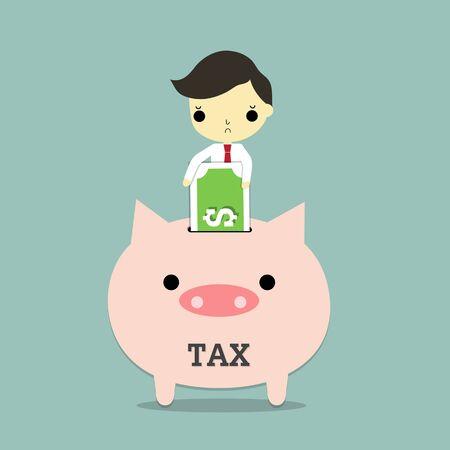 ビジネスマンは、青の背景に税金貯金で銀行を挿入します。  イラスト・ベクター素材