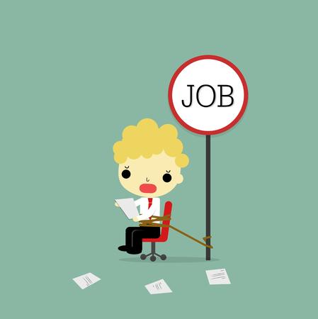疾走感情と仕事の椅子を運ぶ紙の上に座ってのビジネスマンは仕事でバインドです。