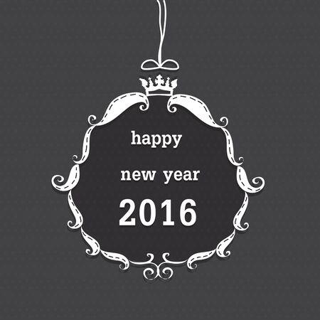 Feliz año nuevo 2016 en el marco blanco y corona sobre fondo gris de punto. Foto de archivo - 49177474