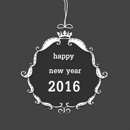 gray dot: happy new year 2016 on white frame and crown on gray dot background.