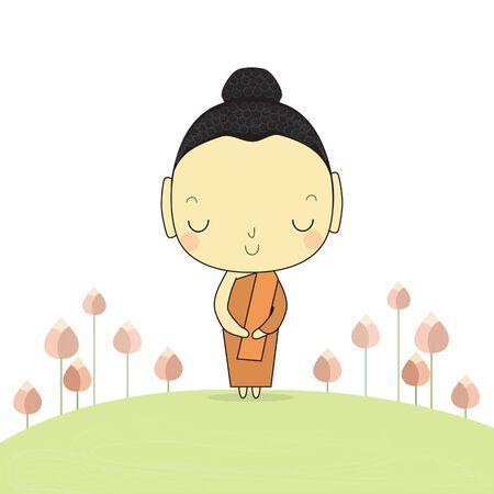 buddha lotus: calm buddha stand on ground around with lotus flower.