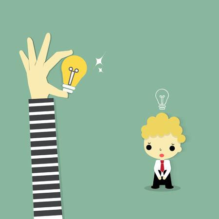 robo: hombre de negocios con idea vacía mirando idea de que la mano del ladrón robó