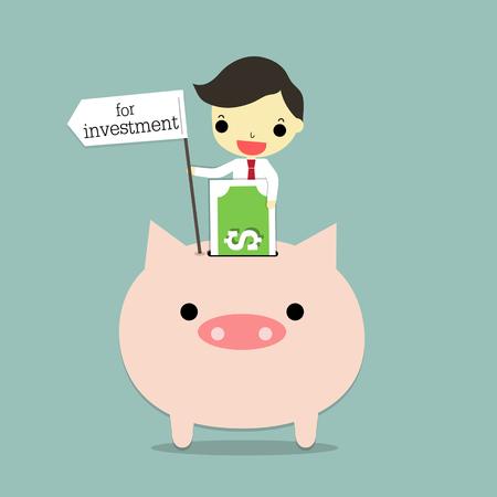 投資のラベルを保持する実業家は、青の背景に貯金で銀行を挿入します。  イラスト・ベクター素材
