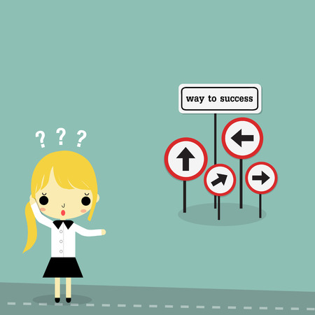 HESITATE: businesswoman stand on the road with way to success sign board on bule background. Illustration