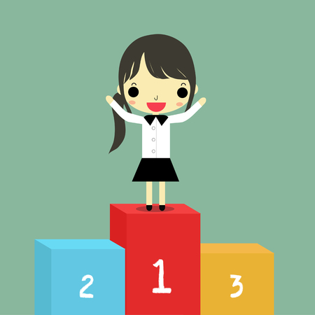 rank: businesswoman at the one rank of podium on blue background. Illustration