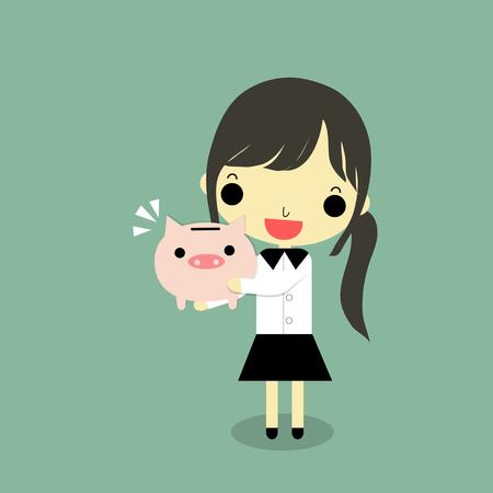 実業家は、緑の背景に幸せな感情で完全貯金を抱っこ。  イラスト・ベクター素材