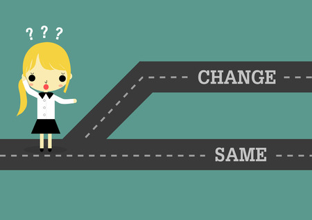 which: businesswoman stand on road which separate 2 way of change or same.