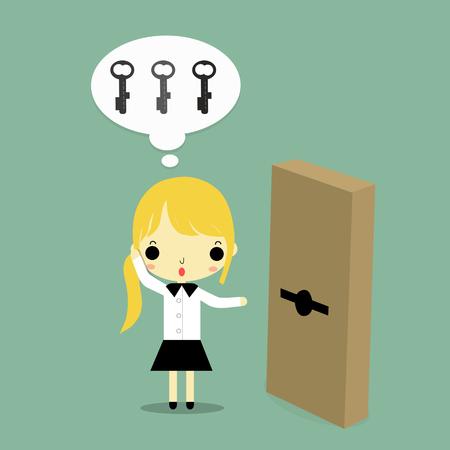 実業家は、ドアを見て、どのキーが青の背景にこのドアを一致と思います。  イラスト・ベクター素材