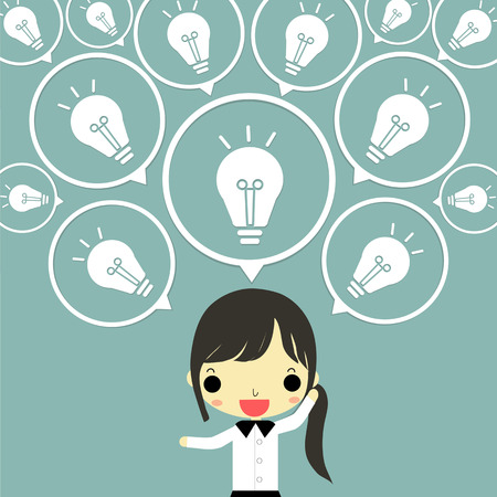 buble: businesswoman with buble of lamp of idea that she thinks non stop on blue background. Illustration