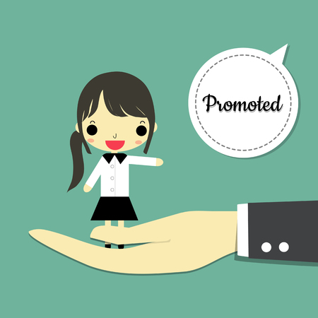 promoted: big hand carry businesswoman and speaking is  promoted  on green-blue background. Illustration