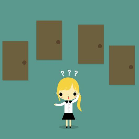 choose: businesswoman standing and thinking which door he must choose.