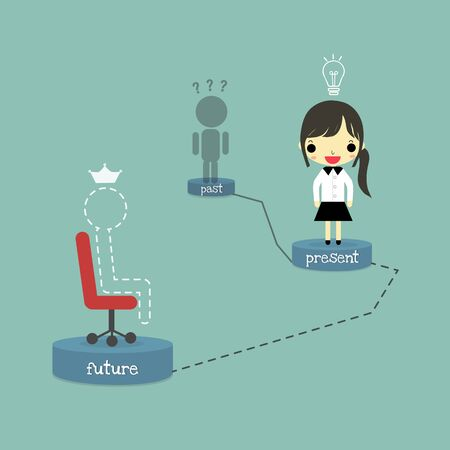 past: dark shadow of person stand at past podium, businesswoman with lamp of idea stand at present podium and line person with crown who sitting on chair at future podium totally on blue background.