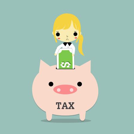 実業家は、青の背景に税金貯金で銀行を挿入します。