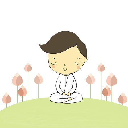 buddhism: man who honor buddhism sitting on the ground around with lotus flower. Illustration