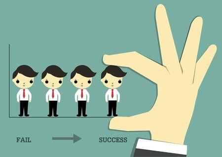 大きな手は、ビジネスマンを運ぶし、ビジネスで成功するためのチームに彼を置きます。