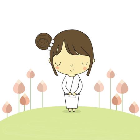 蓮の花と周辺地盤上仏教スタンドを称える女性を落ち着かせます。