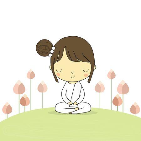 仏教の蓮の花と周りの地面の上に座っての名誉の女性。  イラスト・ベクター素材
