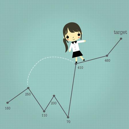 実業家ジャンプ、パスのリスク状況は青い線の背景に成功に移動します。